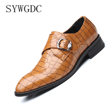 SYWGDC Handmade Men Dress Shoes High Quality Leather Oxford Shoes Pointed Toe Buckle Strap Flats Wedding Formal Shoes Size 38-48 недорго, оригинальная цена