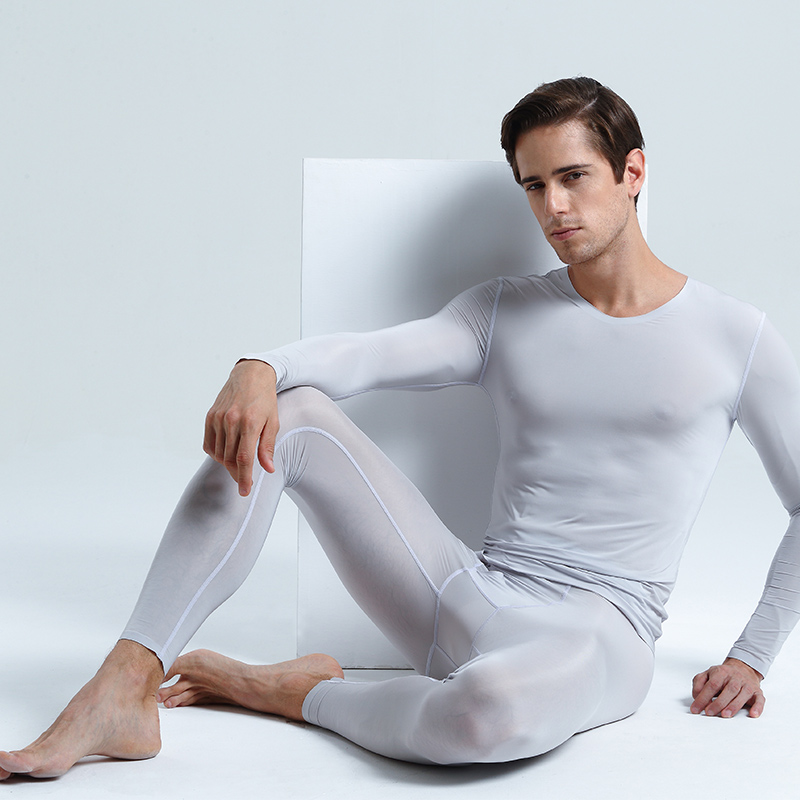 AsiaSkin Men s Ultra thin Ice Silk Seamless Autumn Dress Sleeve Decoration Sexy Long Sleeve Underwear