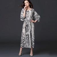 Шелковое платье для Для женщин Элегантный свободное платье печати серый сезон: весна–лето Повседневное платья Длинные vestidos/Бесплатная дос