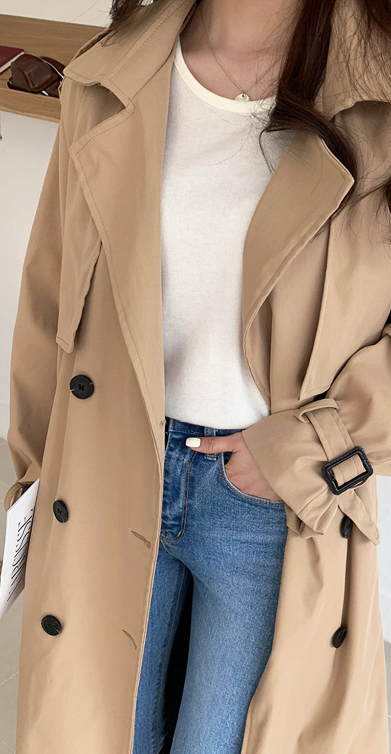 19 New Autumn Winter Women's Coat Korean Windbreaker Female Plus Size Double Breasted Ladies Long Chic Trench Coats 8