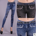 Women's Sexy Seamless Black Blue Imitated Cowboy Jeans Legging Joint Lleopard Print Close-fitting Slim Panes Fashion New L11
