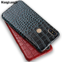 New crocodile texture phone case for xiaomi redmi 4x Genuine leather half pack mobile phone case for xiaomi redmi note 5 case