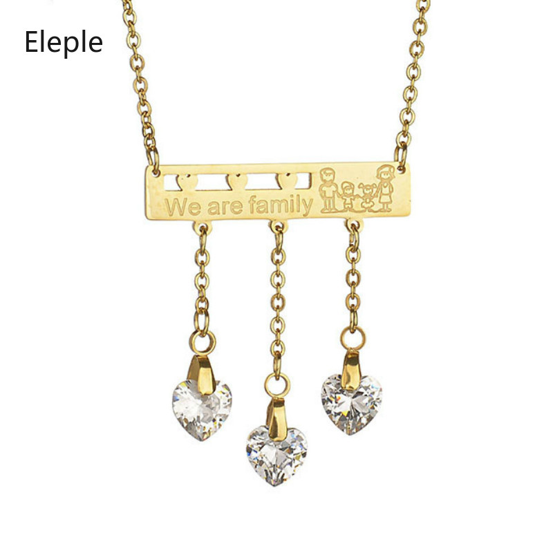 Eleple Fashion Family Stainless Steel 3 Rhinestone Pendant Necklace for Women Exquisite Party Gifts Dropshipping S-N003