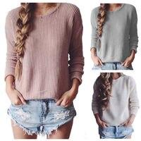 נשים גבירותיי ביגוד מקרית סוודרים סוודרים סרוגים שרוול ארוך חולצות Loose סוודרי Jumper סריגי