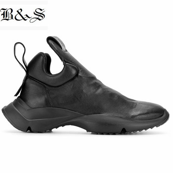 Black& Street 2019 genuine Leather casual trainer Boots sneaker men high Heel 4cm Slip On England casual cowhide Boot