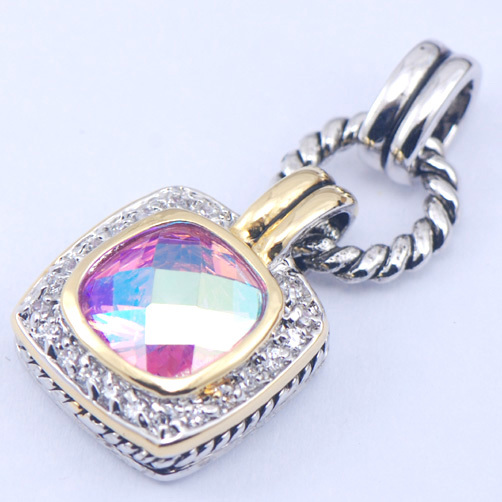 New Rose Rainbow Mystic Crystal Zircon Woman 925 Sterling Silver Crystal pendant TE360