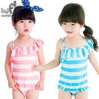 2 7years Summer Swimwear Sling Striped Cute Sweet Sunscreen Swimsuit Baby Girl Safe And Comfortable Swim