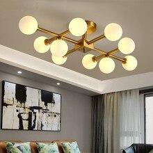 10 Heads Magic Restaurant Nordic Light for Living Room Bedroom Ceiling Lamp Glass Round Ball Molecule LED Chandelier Lighting
