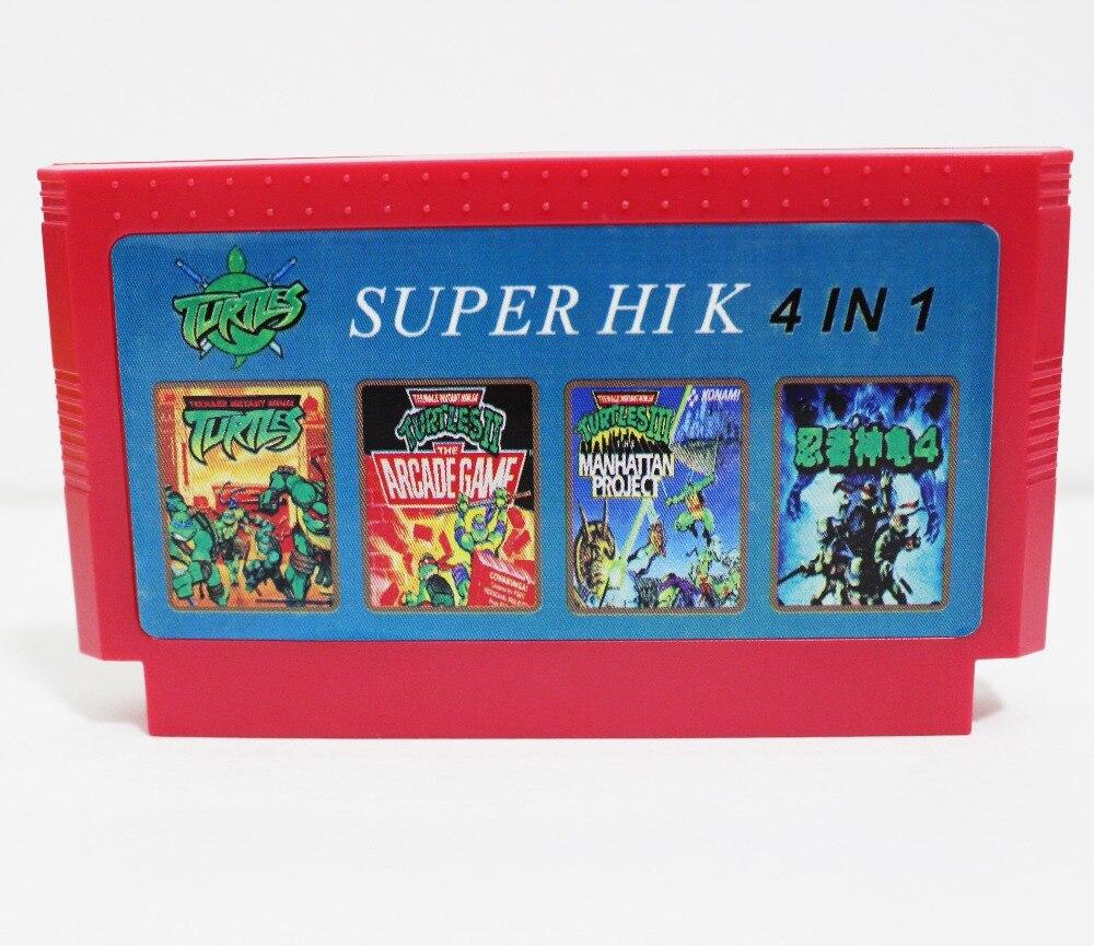Super HIK 4 en 1 (de las Tortugas Ninja 1, 2, 3, 4) ¡mejor venta de 8 bits 60 Pin tarjeta de juego ENVÍO DE LA GOTA!