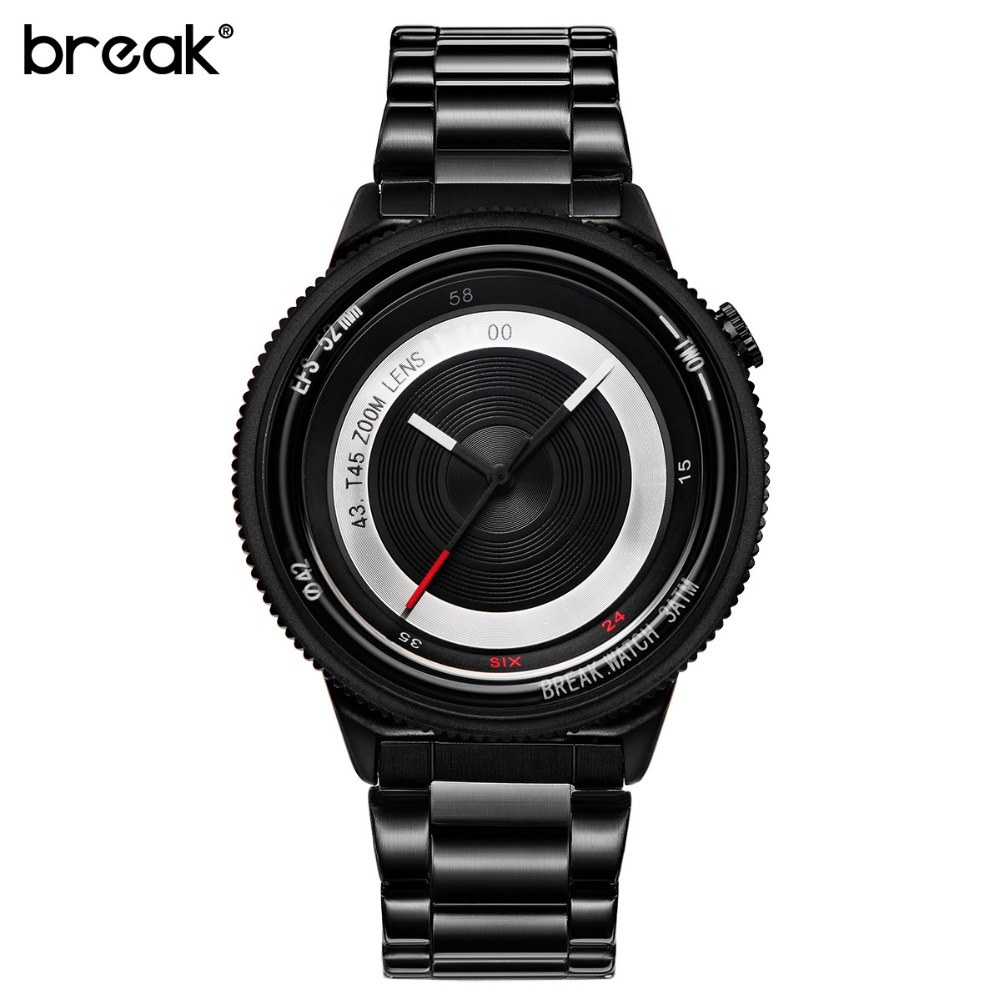 Break Original Black Steel Strap Luxury Lovers' Men Women Unisex Fashion Casual Quartz Creative Photographer Sport Cool Watches break photographer series unique camera style stainless strap men women casual fashion sport quartz modern gift wrist watches