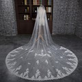 Romantic 2016 One-Layer White/ Ivory Pretty Long Wedding Veil Lace Applique Edge Bridal Veils Wedding Accessories Wedding Veils