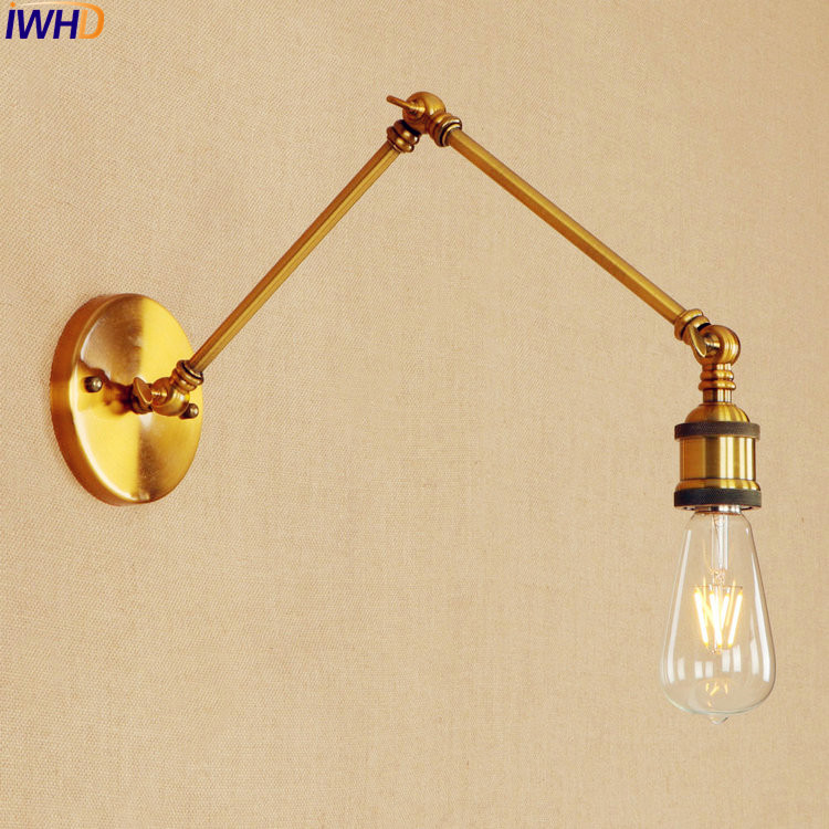 Swing Long Arm LED Wall Light Up Down Golden Loft Industrial Edison Wall Sconces Retro Antique Vintage Wall Lights Fixtures retro ruched swing pin up dress