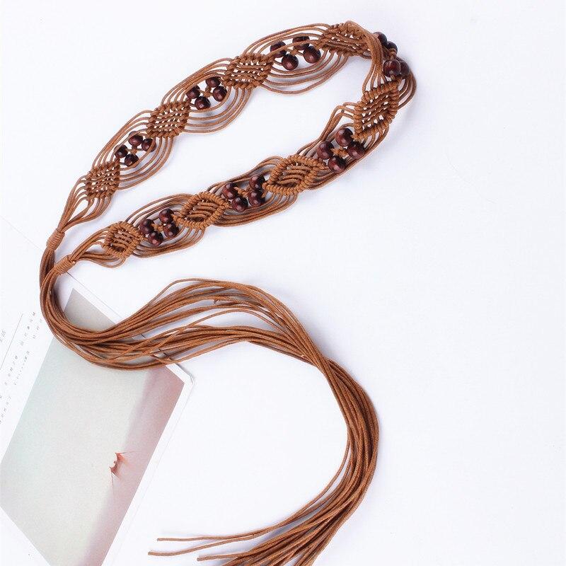 Las mujeres de la correa de la vendimia decorado borla trenzado Bohemia hueco cuerda de la cintura para los vestidos nudo femenino señoras ceinture femme cadena