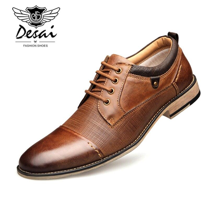 DESAI New Arrival Plus rozmiar buty mężczyźni prawdziwej skóry sznurowane tłoczone biznes sukienka buty męskie formalne oksfordzie buty mieszkania w Oxfordy od Buty na  Grupa 1