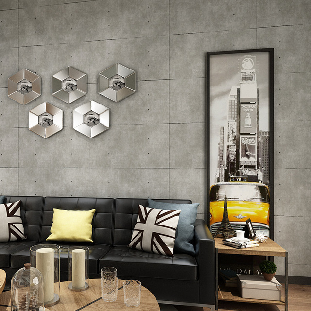 Vintage Cement Wall Papers Home Decor Waterproof Gray Wallpaper Loft For Dining Room Barber Warehouse Walls Improvement