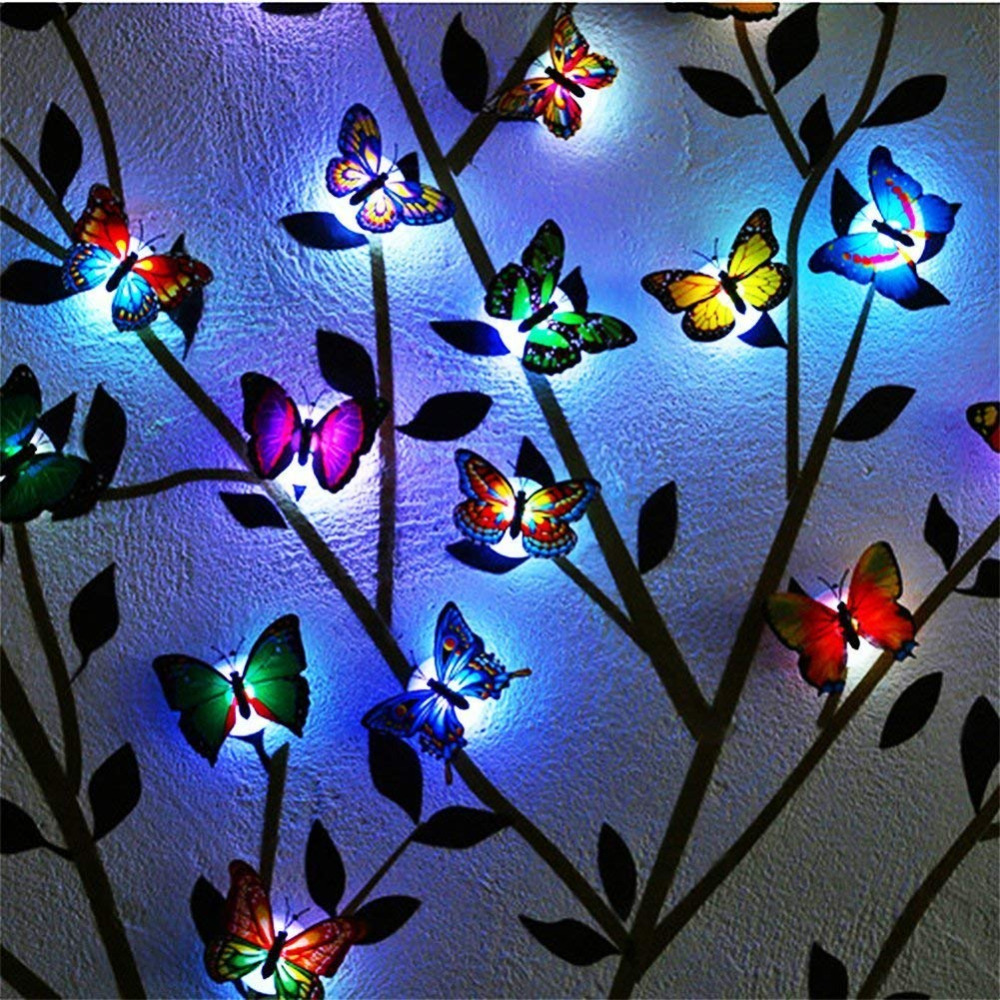 10pcs Lovely LED 3D Butterfly Wall Lights Light Up LED Butterfly Home Room Decoration Christmas Gifts Festival Lamp