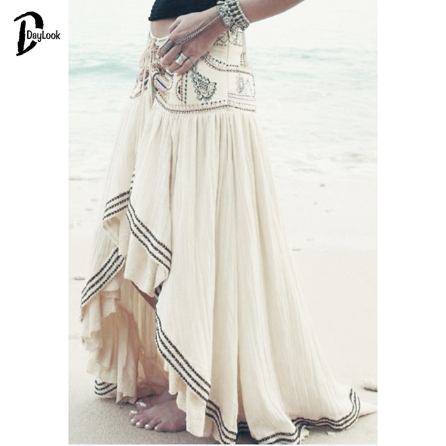 457ac32f3 Daylook Apricot White Floral Long Skirt Bohemia Style Embroidery Striped  Hem Asymmetric Pleated Skirt Women Plus