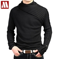 Men's Personality Asymmetric Sleeve Fashion Sweater Knitwear Male Sweaters For 2018 Bussiness Man Inside Coats Spring D344