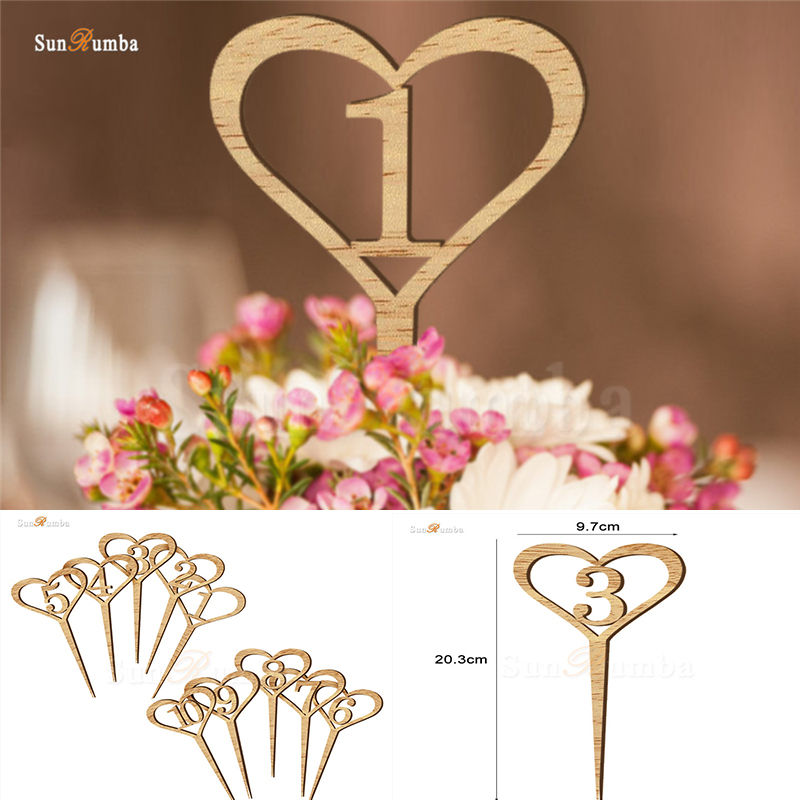 1-10 Table Numbers Rack Wood Heart Wedding Decor Table Number Holder Party Direction Signs Supplies Rustic Wedding Decoration