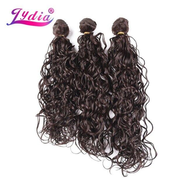 """Лидия завивка искусственных волос для наращивания 3 шт./упак. волна воды темно-коричневый высокотемпературное волокно 18 """"20"""" 22 """"Weft связки для женщин"""
