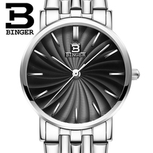 Switzerland BINGER women watches luxury brand quartz  full Stainless steel ultrathin Wristwatches Waterproof B3051W-2
