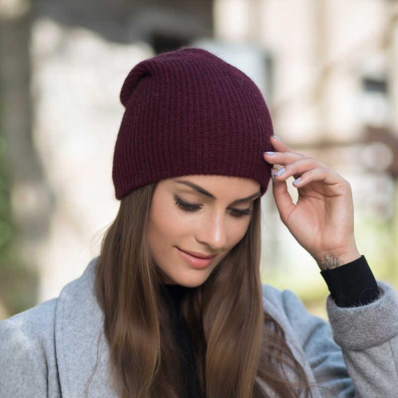 982c94054d0 ... BEFORW 2018 Red Wine White Blue Coffee Gray Rabbit Fur Beanie Hat Women  Winter knitted Woolen ...