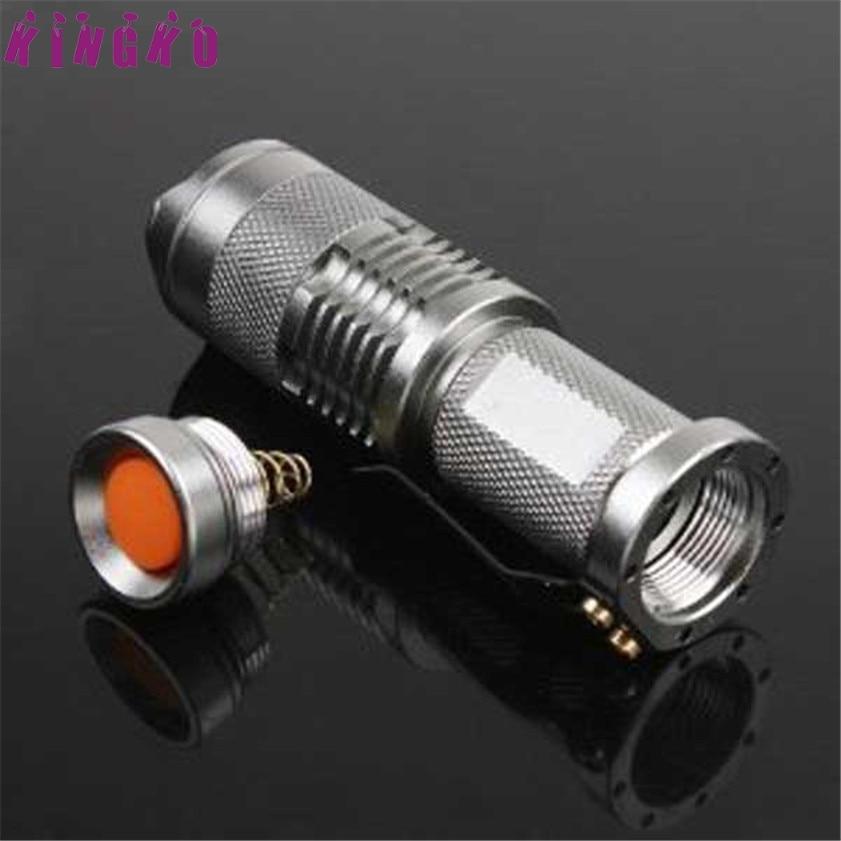 High Quality 7W 300LM Mini LED Flashlight Torch Adjustable Focus Zoom Light Lamp Silver