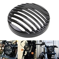"""Black 5-3/4"""" Aluminum Motorcycle Headlight Grill Cover Cafe Racer For Harley Touring Sportster XL 883 1200 2004-2014 Motocicleta"""