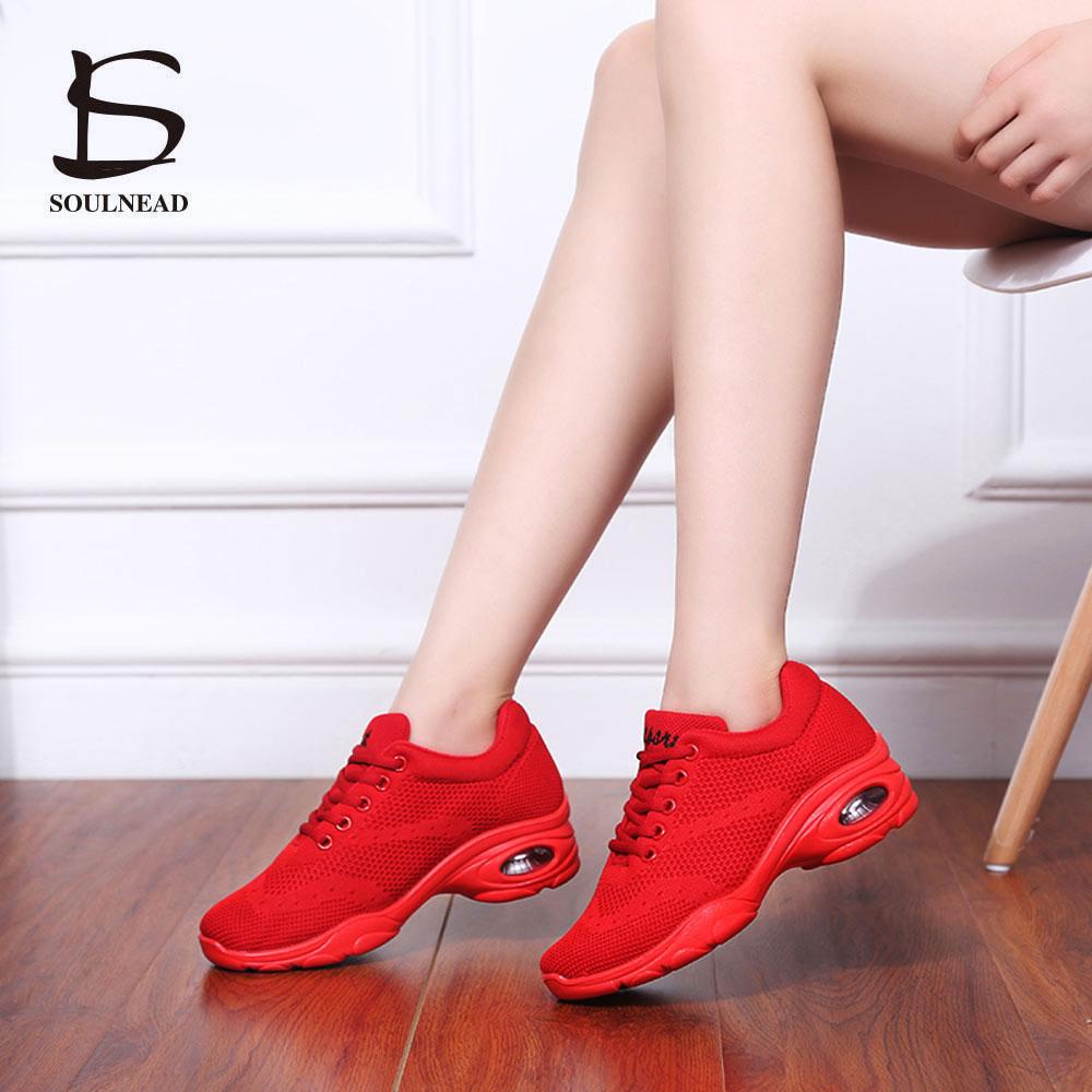 Modern Sneaker Fitness Dance Shoes For Women/Girl Fly Weaving Mesh Jazz Hip Hop Ladies Dancing Shoes Air Cushion Soft Sole Shoe
