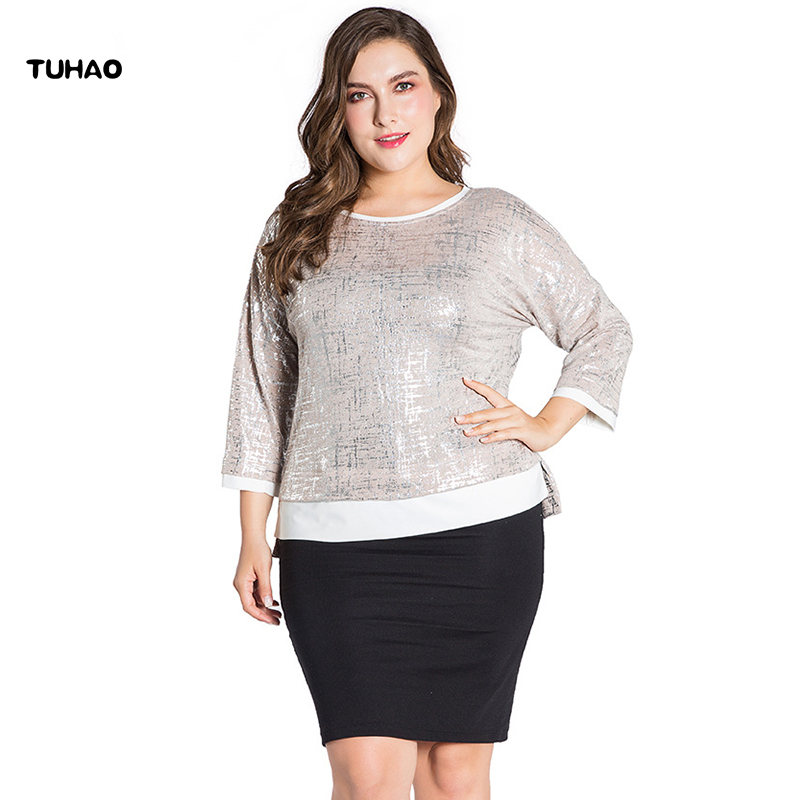 TUHAO Plus Size 5XL 4XL 3XL Top Office Lady Women Clothes Summer Blouse  2018 Loose Blusas ea8a65eceb87