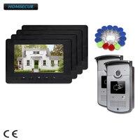 HOMSECUR 7 дюймов Видеодомофон Система с Режимом Отключения Звука для дома безопасности для квартиры XC001 + XM707 B