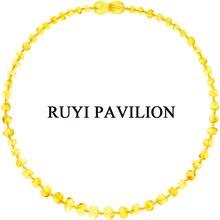 RUYI PAVILION Natural Baltic Amber Necklace For Baby Children Handmade Teething Golden Lemon Polished 32cm-42cm