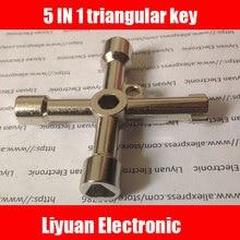 1 adet 5 IN 1 asansör İşlevli Anahtar/Tren Üçgen Anahtar/Metro Musluk Su Sayacı Vana Dört Köşe anahtar