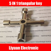 1pcs 5 IN 1 elevator Multifunction Key / Train Triangle Key / Metro Faucet Water Meter Valve Four Corner Key