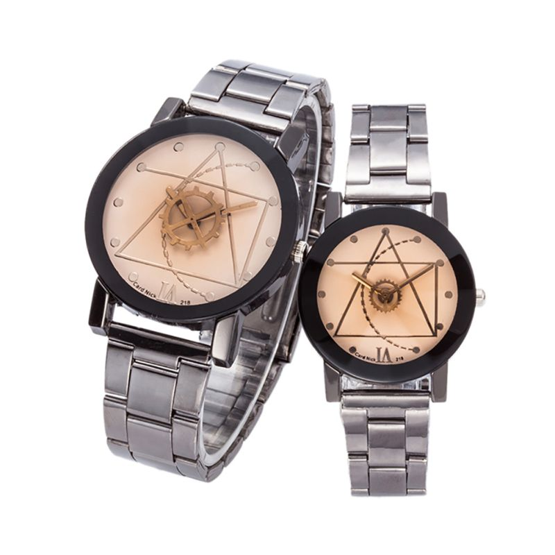 Elegant Luxury Lovers Watch Compass Stainless Steel Quartz Analog Wrist Watch Casual Watch