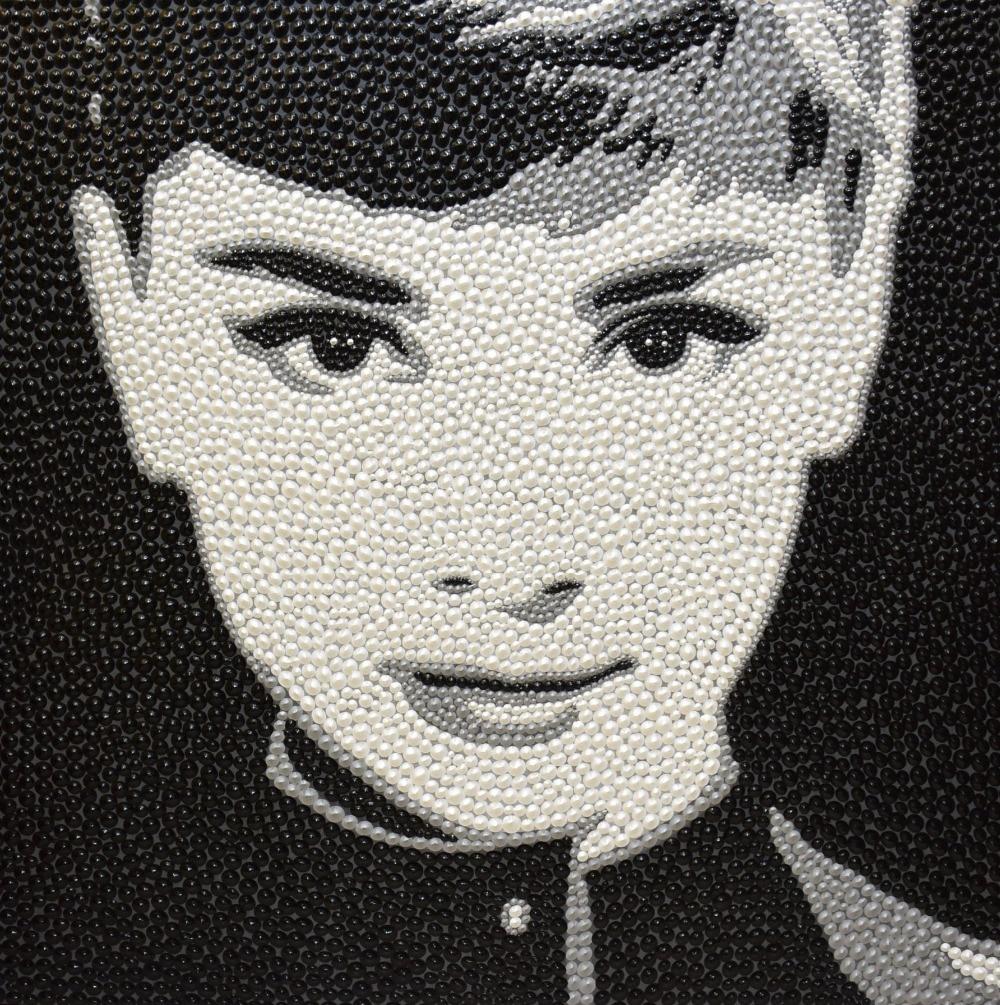 100% håndmalte originale teksturer Pushpin-form Oljemaleri Moderne maleri Audrey Hepburn Kunstbilde for stue