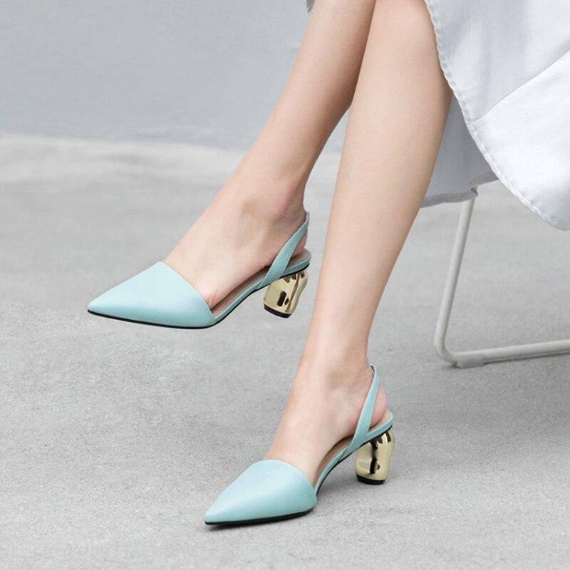 b3658d26ce blue Pontas 5 Moda Saltos Da 5 Do Dedo Pé Alto Black Cinta Decoração Sapatos  Estranho Salto Sandálias Volta Metal Cm ...