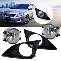 beler 4Pcs Front Right / Left Fog Light Lamp + Grille Cover Bezel 81210 06050 81210 0D040 for Toyota Corolla 2007 2008 2009 2010