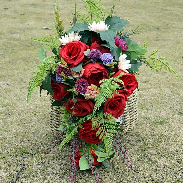 Red Rose Cascade Bouquet wedding bouquet handmade Wild tropical boho ...