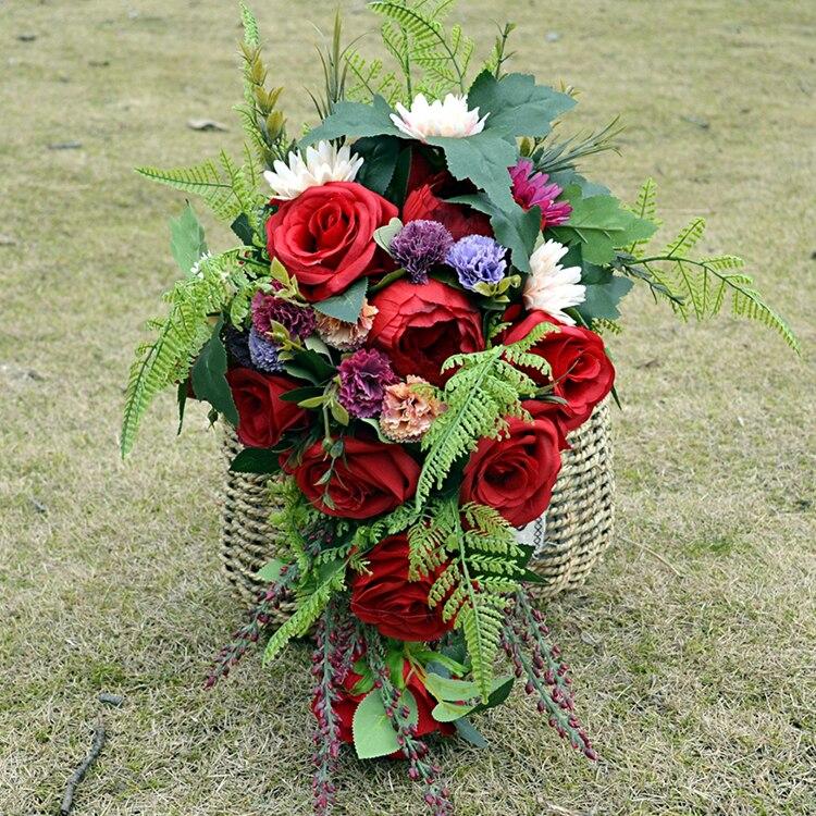 Weddings & Events Rote Rose Cascade Blumenstrauß Hochzeits-blumenstrauß Handgemachte Wild Tropical Boho Blumen Hochzeit Bouquet Cascade Burgund Bouquet De Mariage Die Nieren NäHren Und Rheuma Lindern