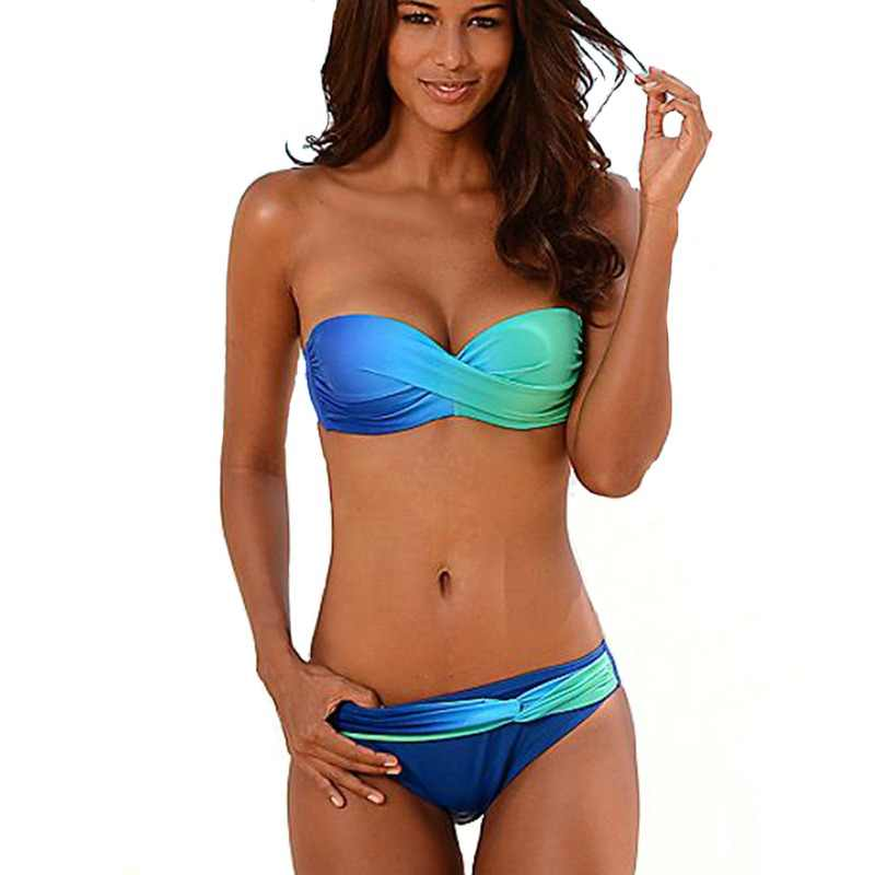ae2f5ad17f9 KINGTUT Bandeau Bikini Set Strappy Pleated 2018 New Arrival Swimwear Women  Solid Sexy Push Up Summer