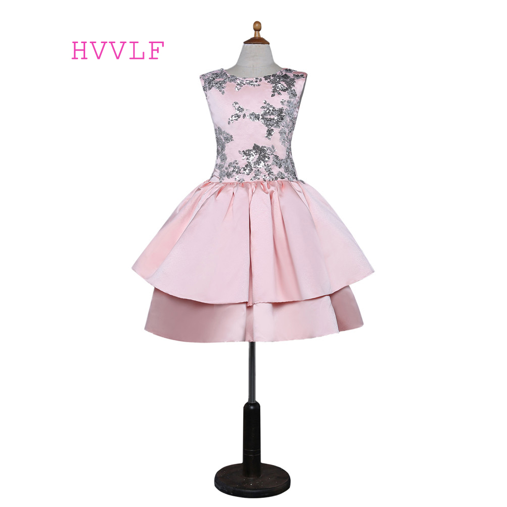 Pink 2019   Flower     Girl     Dresses   For Weddings Ball Gown Cap Sleeves Appliques Bow First Communion   Dresses   For Little   Girls