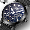LIGE Men S Skeleton WristWatch 3D Face Genuine Leather Casual Sport Automatic Skeleton Mechanical Watches Male