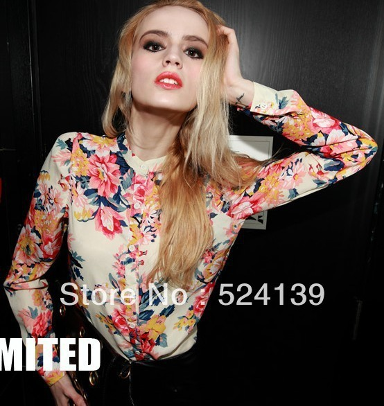 2013,Fashion printing multicolour long-sleeve shirt Chiffon blouse shirt,Blouses for women  Free Shipping