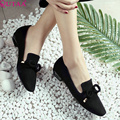 QUTAA 2017 Black Flock Women Pumps Square Low Heel Bow Tie Slip On Pointed Toe Platform Autumn Ladies Wedding Shoes Size 34-40
