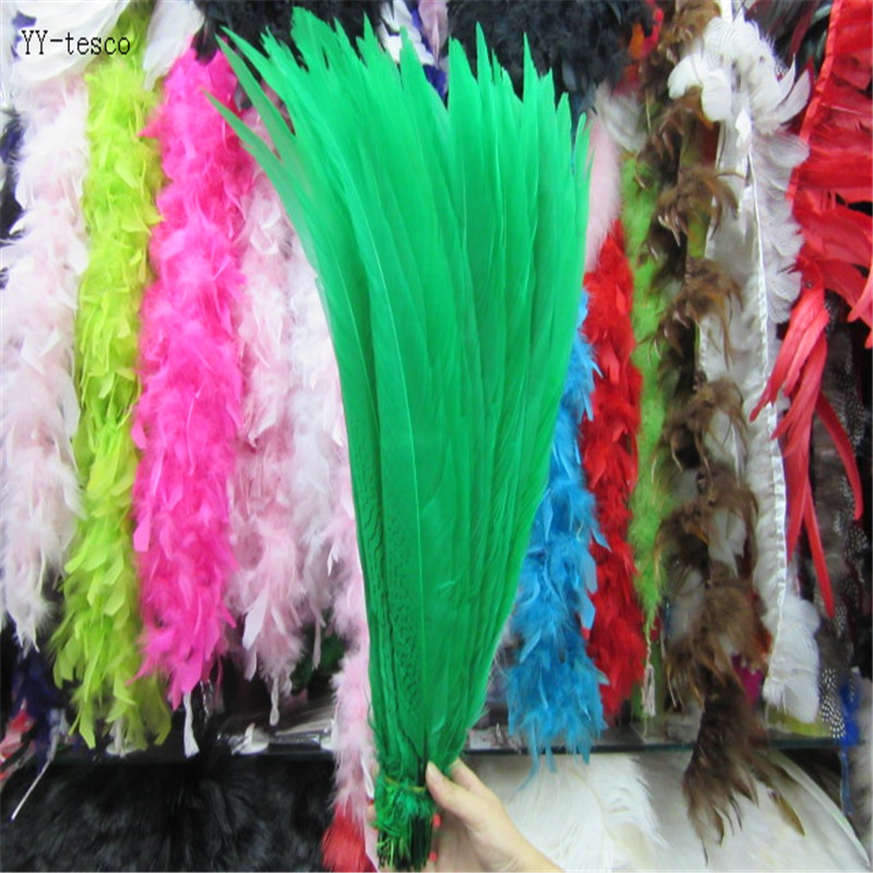 wholesale 50pcs 45 50CM Silver Pheasant Tail Feathers DIY Wedding Decorations lady amherst Green silver chicken