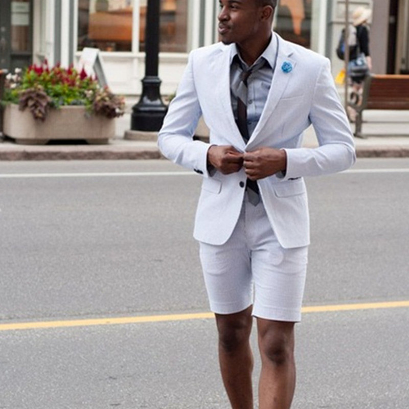 Linen <font><b>Men's</b></font> <font><b>Suit</b></font> <font><b>Shorts</b></font> 2 (Jacket + Pants + Tie) Beach Summer Blazer Custom <font><b>Men's</b></font> Tuxedo Jacket Terno New Style Dresses image