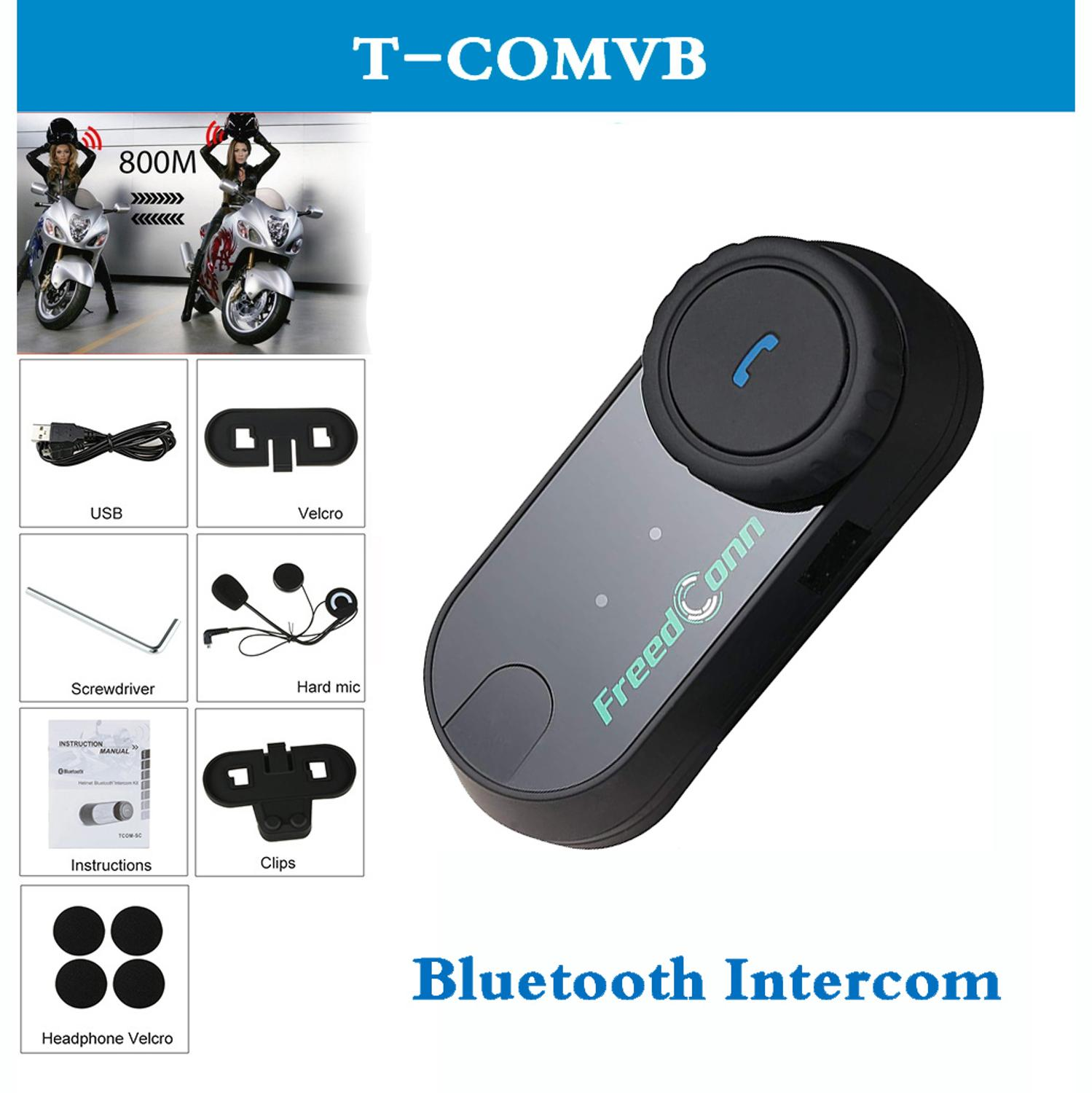 QPLOVE FreedConn T-COMVB Motorcycle Helmet Bluetooth Interphone Headset With FM Radio Updated Version Intercom