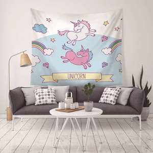 BeddingOutlet 3d Unicorn Tapestry Watercolor Print Wall Hanging for Girl Flower Life Wall Carpet Colored Dreamlike Sheet