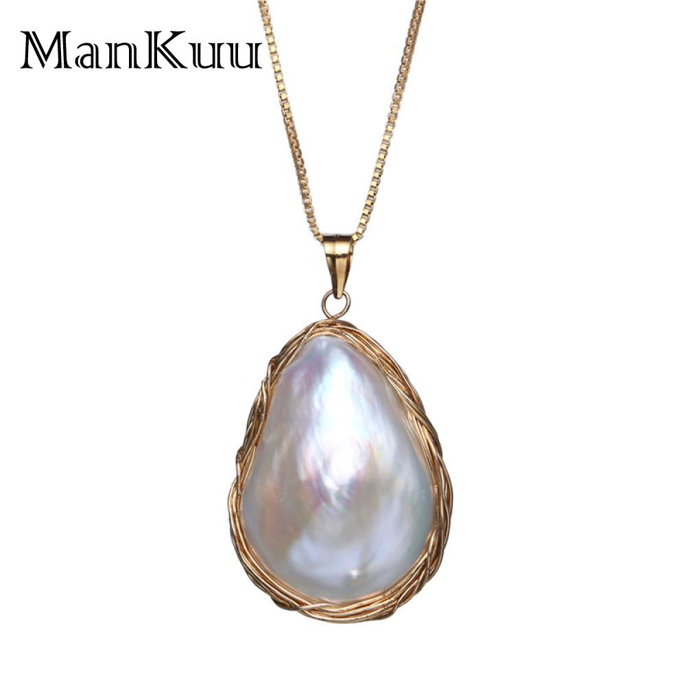 ManKuu New Arrival 14K Gold Pearl Pendant Necklace Natural Freshwater Pearl Water Drop Shape Baroque Necklace Fine Jewelry 2018 цена 2017